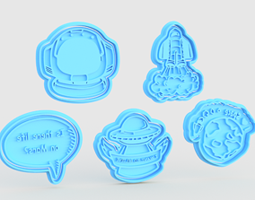 Space cookie cutter set of 5 3D printable model