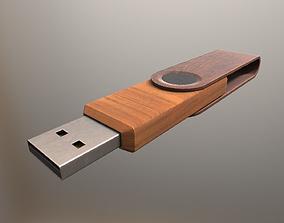 USB Stick Low Poly Wood Version - Gameready - PBR 3D asset