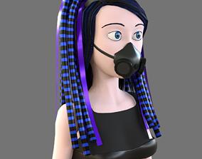 Cybergoth cartoon female character 3D model