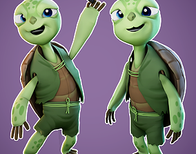 3D asset low-poly Cartoon Turtle Rigged