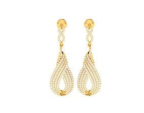 Women earrings 3dm render detail long-earrings gold
