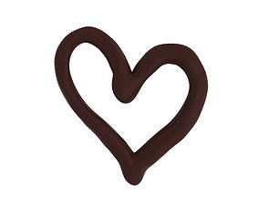 3D Chocolate heart 3