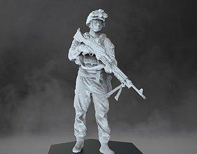 US Marine with machine gun - USMC 3D printable model