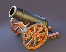 Cannon with wooden base 3D asset