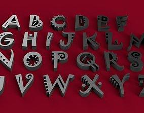 JOKERMAN font uppercase and lowercase 3D letters STL