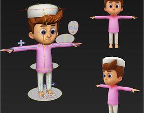 Cute Cartoon Arabic Muslim Boy Rigged 3d maya rigged 1
