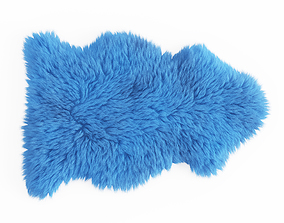 3D Soft Plush Faux Sheepskin Rug Blue 2