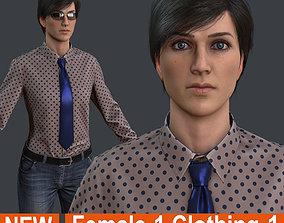 Female 1 - clothing 1 - Full Pack 3D asset game-ready