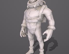 3D asset Diver stylized