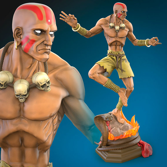 Dhalsim 3D printing ready fan art