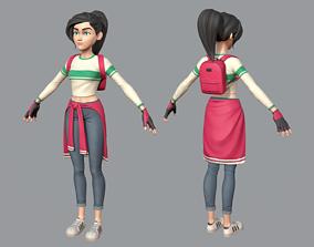 Cartoon teen girl 3D asset