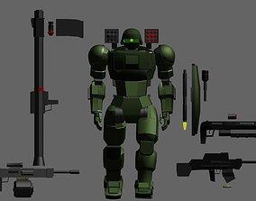 3D asset Mecha Mobile Suit-Krieger