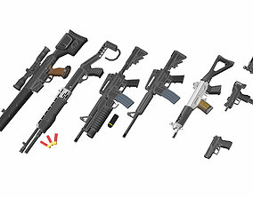 Low-Poly Weapons Collection 01 3D asset