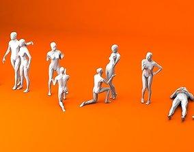 10 People in Love Minimalist 3D model