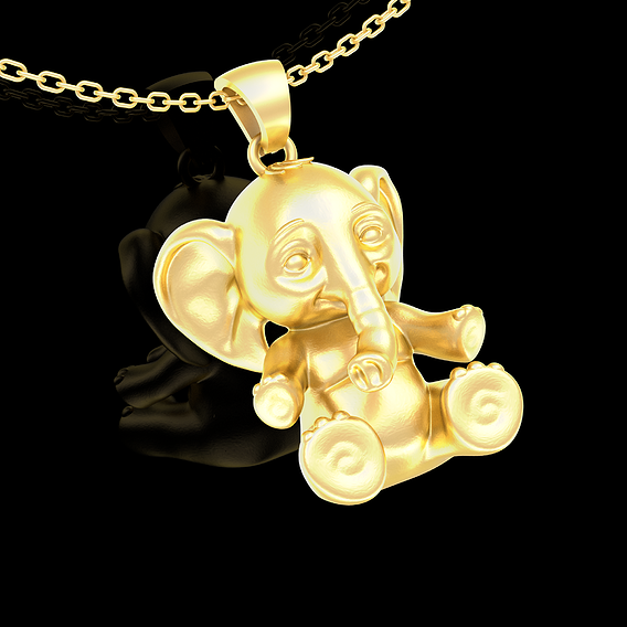 Small Elephant Pendant jewelry Gold 3D print model