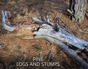 Conifer Pine Logs and Stumps Set 3D asset VR / AR ready