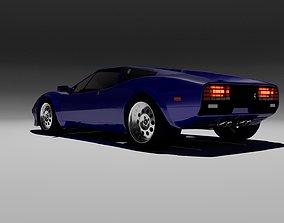 3D asset 80s design sports coupe