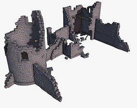 3D asset low-poly Castle Ruins