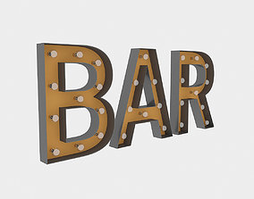 Bar Sign With Bulb 3D model
