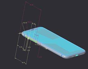 3D model blueprintapple iPhone XS - original dimensions