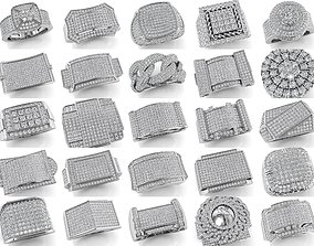 25-Big Mens Ring Collection 3D model