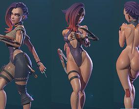 3D print model Cyberpunk Girl Blossom
