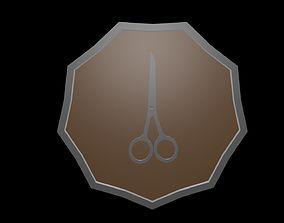 3D asset Low poly logo scissors