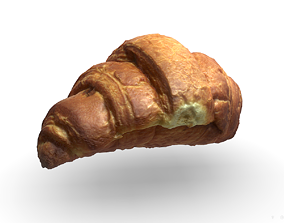 French croissant scan PBR model low-poly