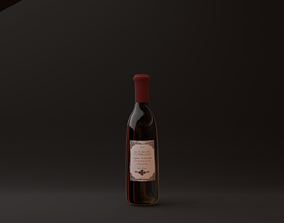 red wine bottle 3D asset low-poly