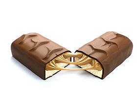 3D Snickers chocolate broken