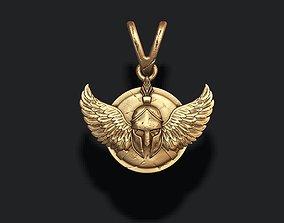 3D printable model Spartan helmet shield wings pendant