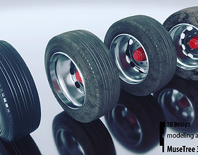 Tire and Rim 3D model game-ready