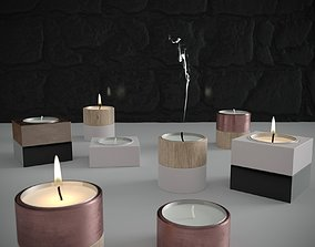 3D model Candle Set with Material Set for Corona