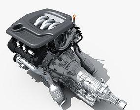 3D model Car Engine with Transmission