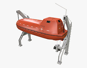 3D model Ship Davit With Rescue Boat