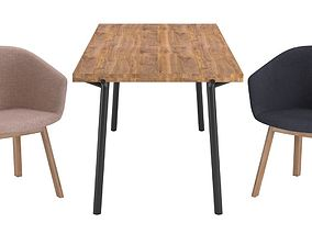 3D Blu Dot Host Dining Chair and Branch Dining Table
