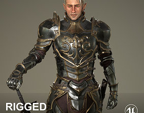 Elf Knight Character Rigged Unreal Game Ready 3D asset