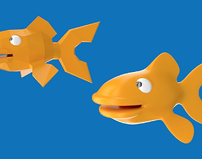 Cartoony goldfish character design 3D asset
