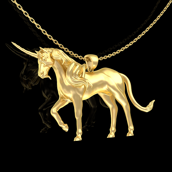 Unicorn Sculpture Pendant Jewelry Gold 3D print model