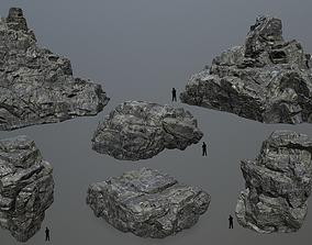 sand cliff rocks set 3D model low-poly