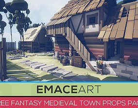 3D asset Free Fantasy Medieval Town Unity Props Pack