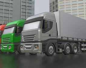 3-AXIS Truck with Semitrailer Low-Poly Version 3D asset