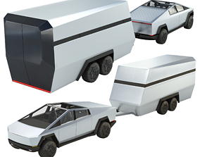 3D asset animated Tesla Cybertruck with Camper
