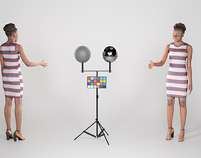 Beautiful young african woman in dress and 3D model 1