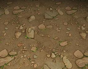 3D ground stone grass tile 24