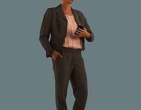 Set of 3D women using the phone