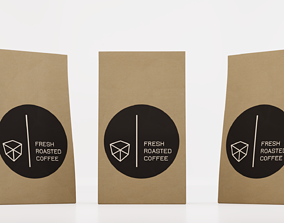 Paper coffee pouch 3D model