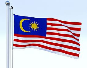 3D asset Animated Malaysia Flag