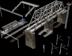 Railstation pack 3D model