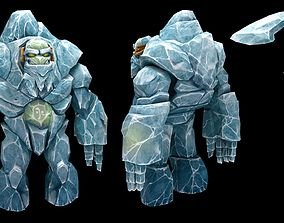 3D asset Ice Golem Character low poly modeling for game